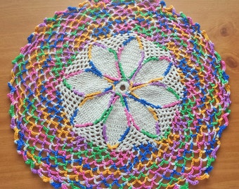 Beige Crochet Doily with Colorful Details, 12 inch Handmade Vintage Doily, Shabby Home Decor, Beige Doily with Variegated Border