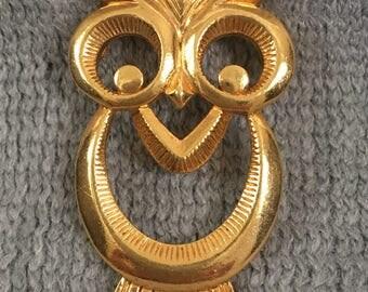 Owl Pin Gold Tone Stylized Vintage Costume Jewelry