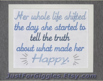 Her Happiness 8x10 inch framed stitchcraft- adjustable in color Women's Empowerment quote CoDA sign Codependency recovery gift The Giver