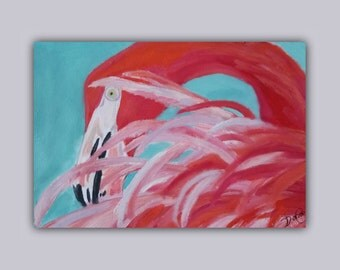 """Original Oil """"PINK"""" Original Oil Painting, flamingo, bird, pink, painting, signed by the artist"""