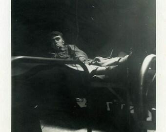 "Vintage Photo ""Scared to Go to Sleep"" Snapshot Antique Photo Old Black & White Photograph Found Paper Ephemera Vernacular - 138"