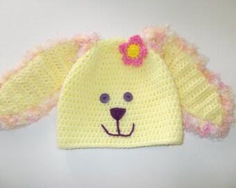 floppy earred bunny hat, fuzzy rabbit hat, Easter bunny beanie, yellow bunny, children's hat, winter hat, winter accessories
