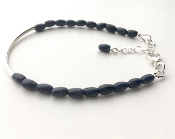 Dark blue rough sapphire bracelet: Seraphic - silver bar bracelet, delicate bracelet, blue bracelet, sapphire jewelry, september birthstone