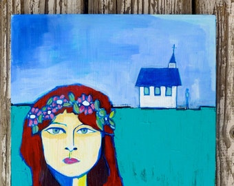 Girl in a Field of Dreams 10 x 10 x 3/4 original acrylic painting
