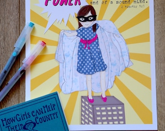 Super Girl - Spirit of POWER  - Scripture Art Print - Children's room wall art - girl's nursery decor
