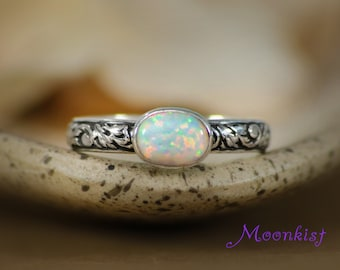 Opal Silver Floral Pattern Bridal Engagement Ring - Bezel Set Oval Opal Silver Bridesmaid Ring - Silver Opal Solitaire Flower Band