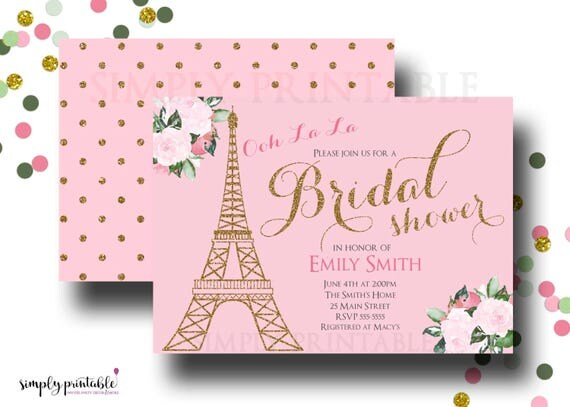 Paris Bridal Shower Invitation, Pink Gold Shower Invite, Eiffel Tower Theme