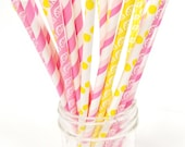 Pink Lemonade Paper Straws - Pink and Yellow Lemon Straws - Set of 25
