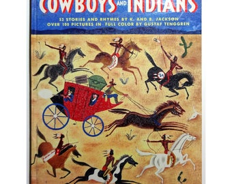 Cowboys & Indians by Gustaf Tenggren, Giant Golden Book, Vintage 1948 Illustrated Children's Book, FREE SHIPPING