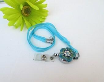 Vintage Flower Pendant | Lanyard Necklace | Badge Lanyard, Ribbon Necklace | Metal Flower