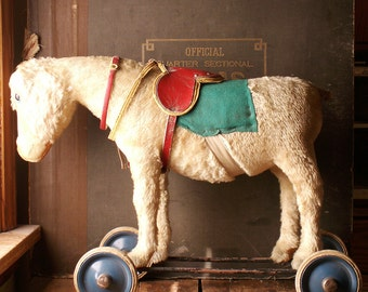 Vintage Steiff? Stuffed Riding Donkey Pull Toy with Pull Cord Growler - Furry Riding Horse on Wheels
