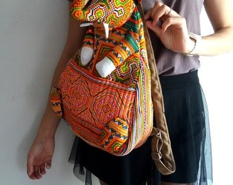 Ethnic Hobo Boho Embroidered Thai Hmong Shoulder Backpack School Elephant bag