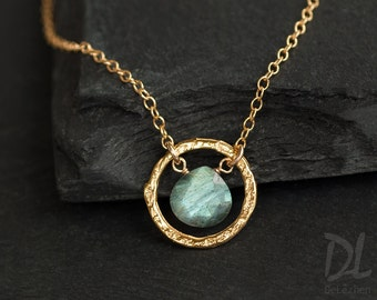 Labradorite necklace Necklace - Minimal Necklace - Gold Infinity Gemstone Necklace - Gold Necklace - Hammered Circle Necklace