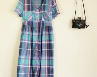 Vintage 90s Blue Aqua and Purple 90s Button Front Maxi Dress Grunge Festival 90s VG A