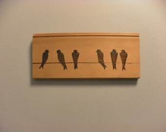 Birds on a wire Pyrography Portrait on cedar simple design ready to ship or custom made to order