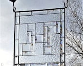 Stained glass window panel clear textures with lots of bevels READY TO SHIP handmade