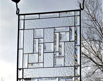 Stained glass window panel clear textures with lots of bevels handmade