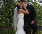 Single layer Elbow, Fingertip, Waltz length short wedding veils