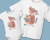Boho Woodland Fox Big Sister Little Sister Shirt or Onezie - Create a Matching Shirt Set (buy 1, 2, etc) - Mother Daughter - Personalized