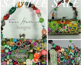 Sample Sale .. Haute Mess Clutch Bag . Bright Beaded Art Bag . Beaded Evening Bag . OOAK Bag . Skull Flower Bag ...  Sample Sale