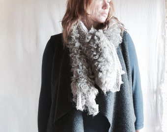 Shearling and Chiffon Scarf in Grey and Beige - Boho Chic - Ready to Ship as seen.  Free Shipping