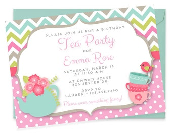 Tea Party Birthday Invites, Birthday Invitations for Girls, Girl Birthday Invitations