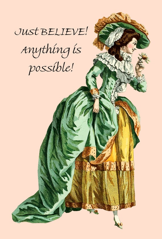 "Just Believe! Anything Is Possible! ~ Marie Antoinette Funny 4"" x 6"" Postcards ~ Free Shipping in USA"