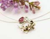Flower branch raw ruby necklace sterling silver rough ruby pendant silver square floral necklace, July birthstone, raw stone ruby jewelry