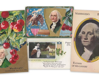 Washington's Birthday- 1910s Antique Postcards- SET of 4- President's Day- George Washington- February 22- Red Cherries- Paper Ephemera