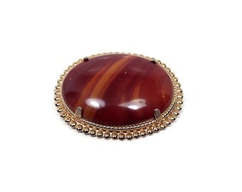 Oval Agate Gemstone Vintage Brooch Gold Tone Long Extending Pin Mid Century Womens Gift
