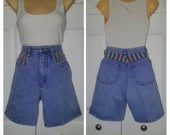 Alive & kicking ... vintage 80s jeans shorts / 1980s high waist waisted  / Rio light denim / color striped pocket inserts .. waist 24
