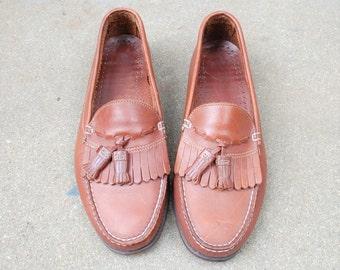 Vintage Mens 9m Dexter USA Slip On Loafers Brown Leather Kiltie Tassel Fringe Loafers Wedding Suit Dress Casual Preppy Boat Deck Spring Shoe