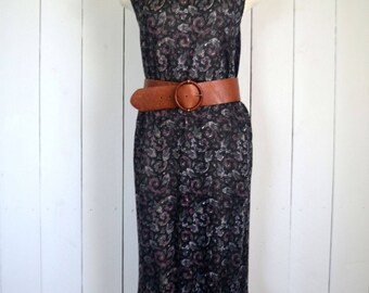Paisley Tank Dress - 1960s Hippie Boho Dress - Vintage Black Purple Ruffle Hem Sun Dress - Small S