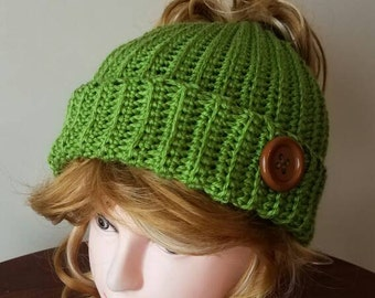 Guacamole Messy Bun Hat. Super soft, for teens or adults - Ready to be Shipped