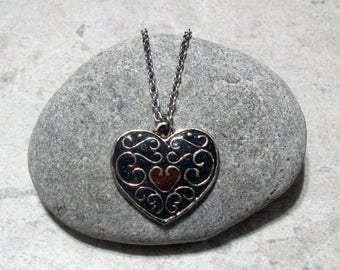 Dark Teal Heart Necklace Handcrafted Pendant Antique Silver