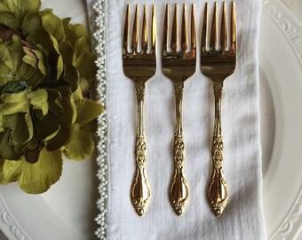 Vintage Salad Forks Golden Carolina Gold Electroplate Oneida Rogers By Kenwood Japan - #D2421