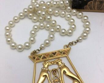 Dog Necklace pearl necklace vintage assemblage necklace retro pendant