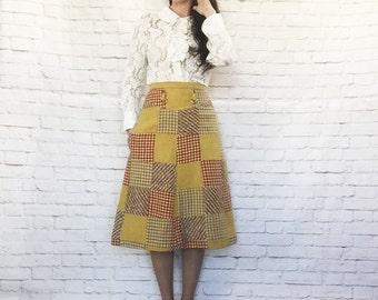 Vintage 60s Patchwork Tweed Plaid A-Line Skirt Mustard Wool Knee Length S