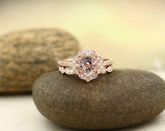 AAA Morganite Engagement Ring Set  Diamond Wedding Ring Set Vintage Floral style  with Art deco band In 14k Rose Gold Gem1224