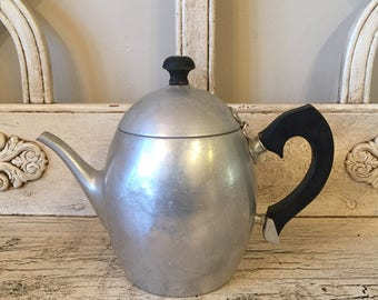 Vintage Aluminum Teapot with Infuser by Universal - Rustic, Charming Farmhouse Teapot