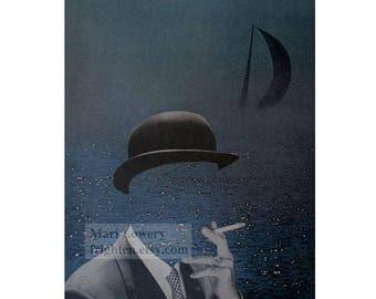 Surreal Art Paper Collage Print, Smoking Man, Retro Art, 8 x 10 Inch Print, Dark Blue and Black, Masculine Wall Art