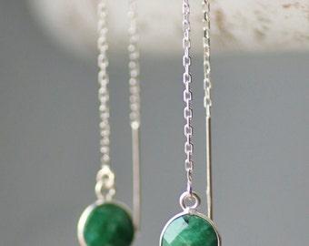 Genuine Raw Emerald Ear Threader Earrings,Sterling Silver Threader,Petite Long Drop,Delicate,May Birthstone,Gemstone Earring,Gift For Her