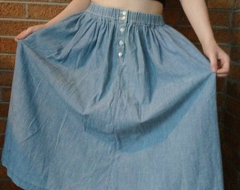Vintage Blue Chambray Denim Skirt Sz Small