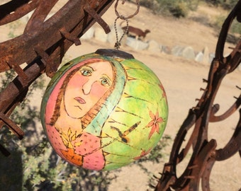 Wild Native Coyote Art Gourd - Lady of Sorrows - Santos Christmas Ornament - Cathy DeLeRee - Original Folk Art