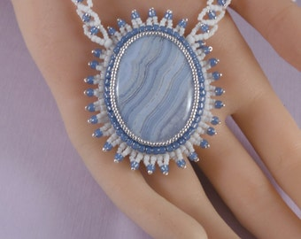 OOAK Blue Lace Agate Necklace - 15 to 16 Inch Seed Bead Embroidered - Stone - Beaded Embroidery - Blue White Silver - Elegant Gift For Her