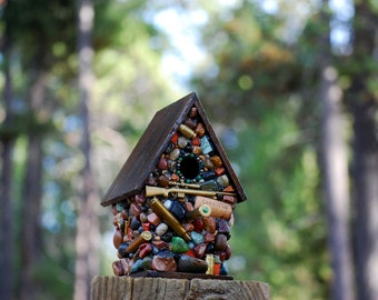 Gifts For Him outdoor birdhouse Recycled Bullets Mosaic Birdhouse with riffle and shells and skeet Functional Outdoor Deer Elk Hunting theme