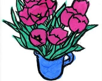Tulips in Pitcher, original woodblock print