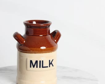 Vintage Ceramic Milk Canister, Milk Jug, Utensil Holder, Pottery