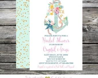 Bridal Shower Invitation, Anchor, Nautical Invitation, Baby Shower, Invitation, Printed Invitations, Bridal Shower Invites, Gold Mint Floral