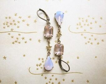 Blushing Rhinestone and Star Earrings / Romantic Summer Jewelry / Vintage Rhinestone Assemblage Earrings